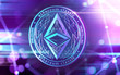 canvas print picture - Neon glowing Ethereum Classic (ETC) coin in Ultra Violet colors with cryptocurrency blockchain nodes in blurry background. 3D rendering