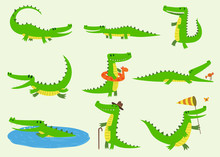 Cartoon Vector Crocodiles Char...