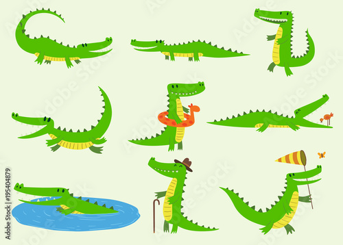 Fotografiet Cartoon vector crocodiles characters different green zoo animals