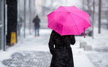 Woman With Pink Umbrella Walki...