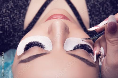 Fotografie, Obraz  Woman eye with long and thick eyelashes having eyelash extension