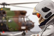 Flight Crew Fireman In Helmet