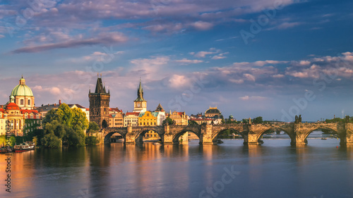 Poster Oost Europa Scenic spring sunset aerial view of the Old Town pier architecture and Charles Bridge over Vltava river in Prague, Czech Republic