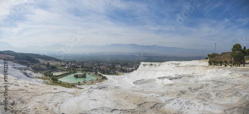 Valokuva  Panoramic view of Pammukale near modern city Denizli, Turkey