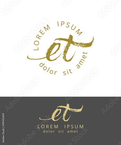 Photo  E T. Initials Monogram Logo Design. Dry Brush Calligraphy
