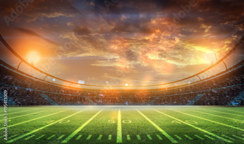 Montage in der Fensternische Cappuccino american football stadium 3D.