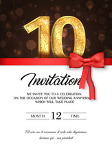 Template Of Invitation Card To The Day Of The Tenth Anniversary With Abstract Text Vector Illustration. To 10 Th Years Eve Card Invite
