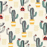 Cactus in a Pot seamless pattern with lovely flowering cacti in a flower pot. Vector illustration. - 195415603