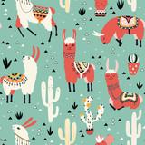 Lamy i kaktus w garnku na zielonym tle. Bezszwowy wzór z uroczymi lamami, kwiatami i kaktusami w wektorze. - 195415628