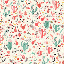 Pink And Green Cacti On Milky White Background. Seamless Pattern With Lovely Cactus, Flowers And Triangles In Vector.