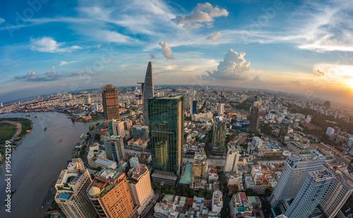Foto  HO CHI MINH, VIETNAM - NOV 20, 2017: Royalty high quality stock image aerial view of Ho Chi Minh city, Vietnam
