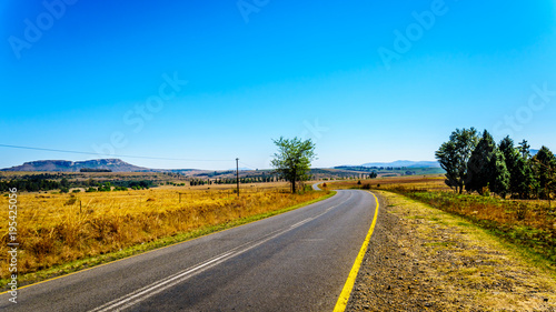 Poster Blauw Landscape with the fertile farmlands along highway R26, in the Free State province of South Africa