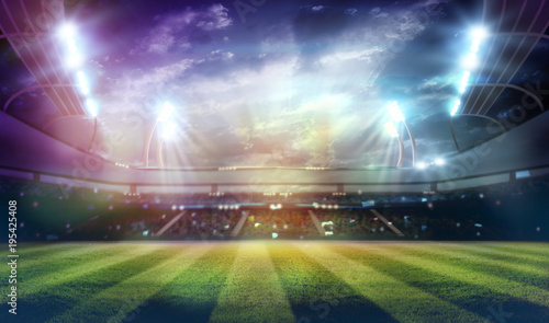 Spoed Foto op Canvas Stadion lights at night and stadium 3d render,