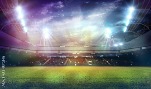 Spoed Foto op Canvas Stadion stadium in lights and flashes 3d.