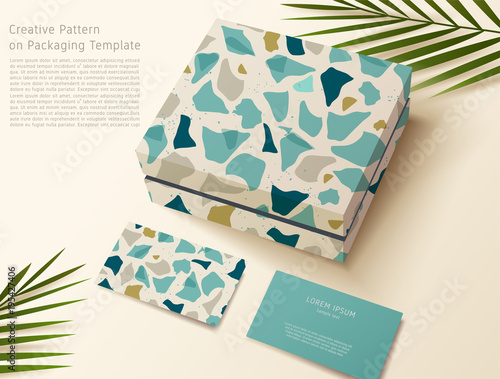Terrazzo pattern on packaging template gift box and business card terrazzo pattern on packaging template gift box and business card vector illustration reheart Images