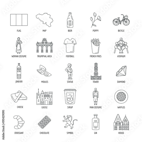 Belgium icons set , outline style Wallpaper Mural