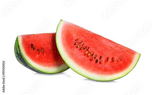 sliced red watermelon isolated on white background, perfect retouched