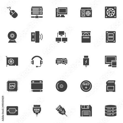 Fototapety, obrazy: Computer device elements vector icons set, modern solid symbol collection, filled style pictogram pack. Signs, logo illustration. Set includes icons as Database server, Webcam, Wireless usb stick, SSD