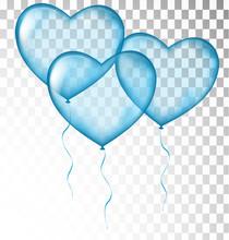 Blue Heart Balloons Transparent