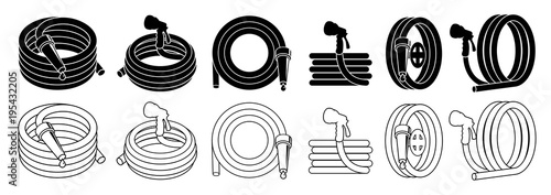 Garden hose or fire hose set, isolated on white vector icon. Wallpaper Mural
