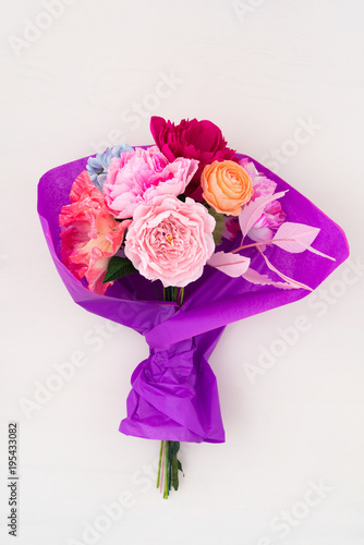 Crepe Paper Flower Bouquet With Peonies Sweet Peas Poppies
