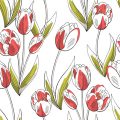 Fototapeta Tulip flower graphic red green color seamless pattern sketch illustration vector