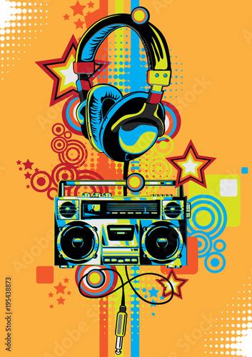 Plakaty Instrumenty Muzyczne   boom-box-and-headphones-in-graffiti-style