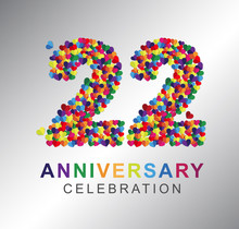 22nd Anniversary Design Logotype Paper Hearts Multicolor For Celebration