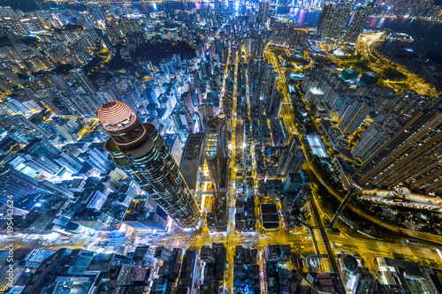Valokuvatapetti Aerial view of business district of Hong Kong at night
