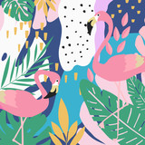 Tropical jungle leaves background with flamingos. Summer vector illustration design. Flamingo background. Exotic background poster. Tropical leaves art print - 195444007