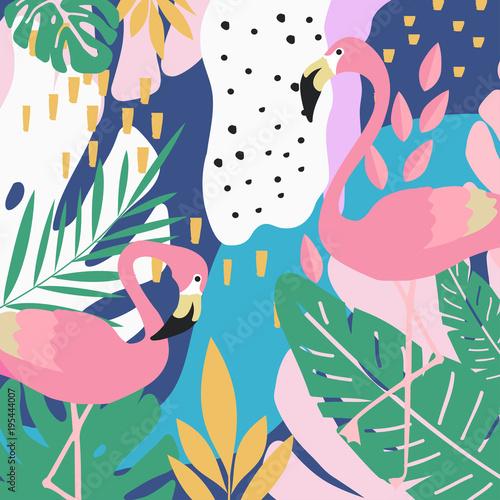 tropikalna-dzungla-opuszcza-tlo-z-flamingami-lato-wektorowy-ilustracyjny-projekt-flamingo-w-tle-egzotyczny-plakat-w-tle-tropikalny-lisc