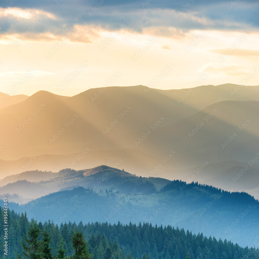 Poster Beautiful Sunset In The Mountains Landscape With Sun