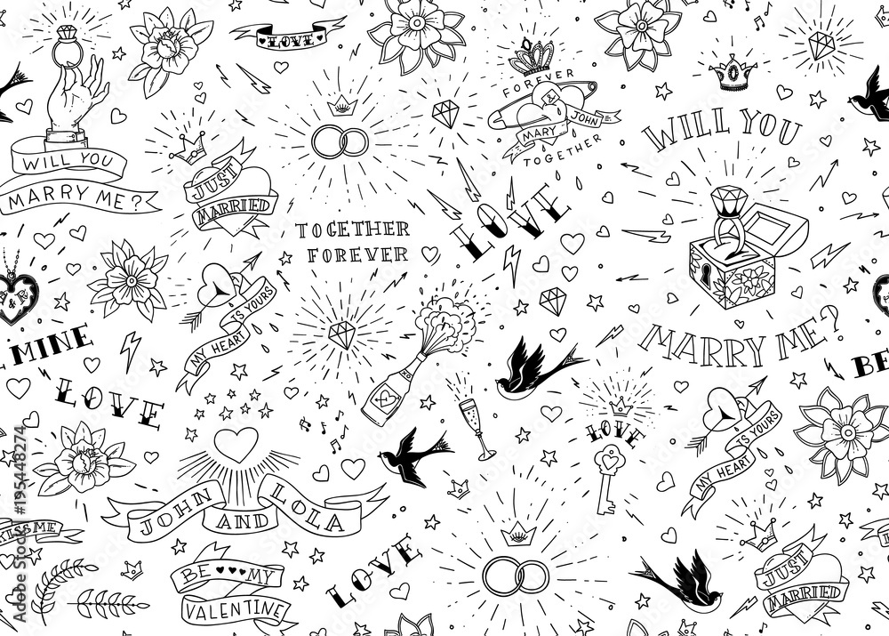 Fototapeta Old school tattoos seamles pattern with birds, flowers, roses and hearts. Love and wedding theme. Black and white traditional tattoo design. Vector illustration.