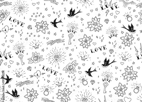 ce3ff4ef89f36 Old school tattoos seamles pattern with birds, flowers, roses and hearts.  Love and