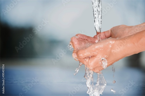 Fotografie, Obraz  Woman Washing Her Hands on background