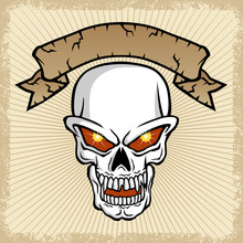 Vector Of Skull And Banner