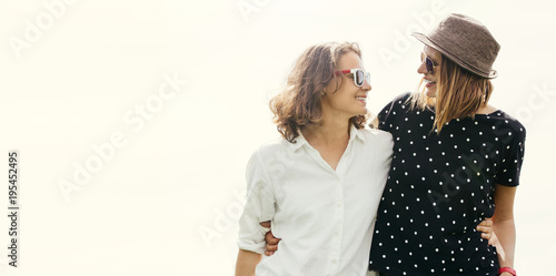 Photo holiday of two young happy women