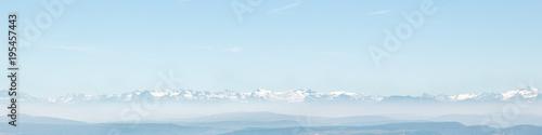 Printed kitchen splashbacks Light blue Alpen und Alpensicht aus der Ferne, Alpenpanorama und Panorama