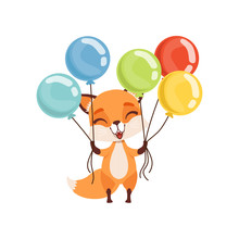 Happy Fox Character Holding Bundles Of Colorful Balloons, Funny Forest Animal Vector Illustration On A White Background
