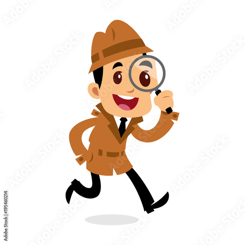 Cuadros en Lienzo Vector drawing of a detective man, he is looking for clues