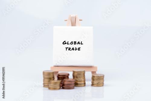 Fotografie, Obraz  Tafel zu Global Trade