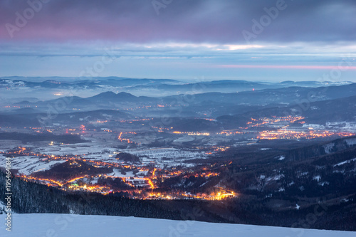 Fototapeta Jeleniogorska Valley from Karkonosze mountains at night, Silesia, Poland obraz