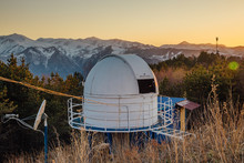 Small Astronomical Observatory With Telescope In Caucasian Mountains At The Sunset