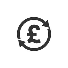 Exchange, Money, Pound Transfer Icon, Vector Illustration.