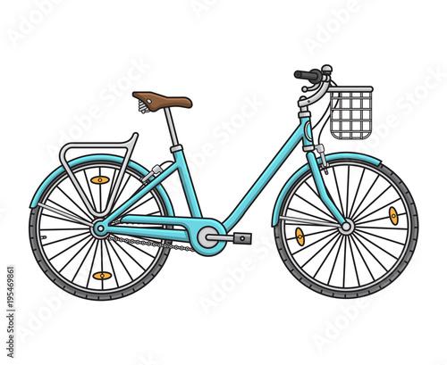 In de dag Fiets City walking women's bicycle. Vector illustration