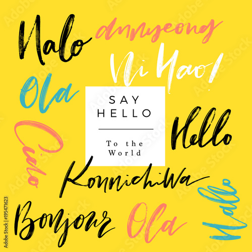 A set of words hello in different language greetings vector hand a set of words hello in different language greetings vector hand lettering modern m4hsunfo