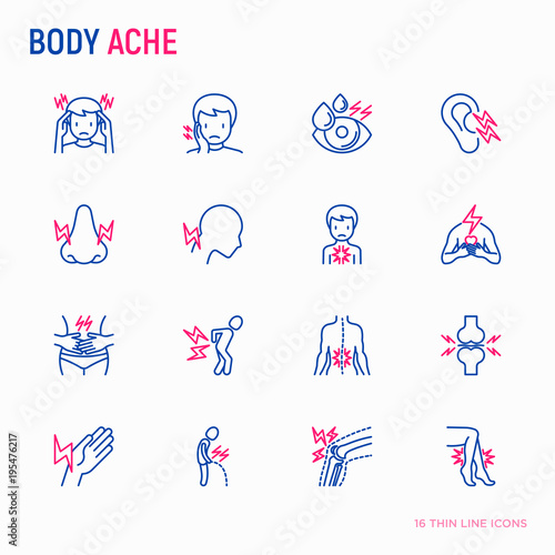 Fotografiet Body aches thin line icons set: migraine, toothache, pain in eyes, ear, nose, when urinating, chest pain, menstrual, joint, arthritis, rheumatism