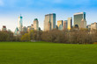 Sheep Meadow at Central Park and Midtown skyline, New York City, NY, USA