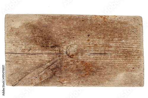 Poster Metal old wooden handmade wood vintage antique cutting board isolated on white background
