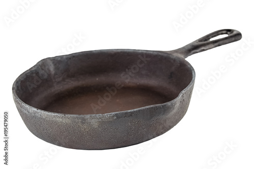old metal iron village frying pan isolated on white background Fototapeta